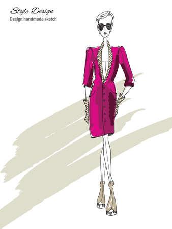 vintage lady: Vector fashion model. Vector sketch silhouette. Vector vintage lady. Dress pencil sketch. Vector fashion outline. Vector style  lady. Vector fashion girl. Magazine cover. Fashion shopping.
