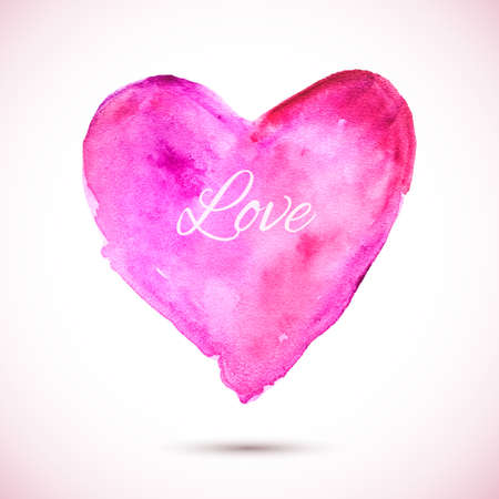 love image: Vector pink watercolor background. Colorful abstract texture. Vector design elements. Vintage background. Vector watercolor splash. Love card. Vector Valentines day. Holiday card
