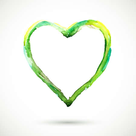 painterly effect: watercolor frame.  watercolor green heart background. Colorful abstract texture. Vintage organic background. Green heart. Illustration