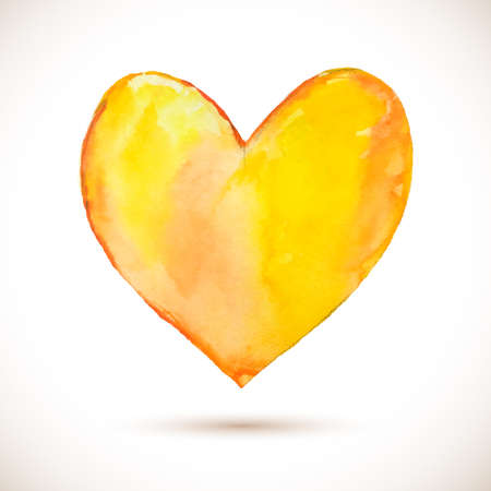 painterly effect: watercolor yellow heart. Colorful abstract texture. design elements. Vintage background. orange spot Illustration