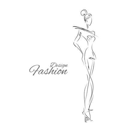modella. sagoma schizzo. lady vintage. Dress schizzo a matita. contorno di moda vctor. signora stile. ragazza alla moda.