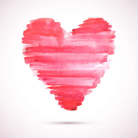 painterly effect: watercolor heart background. Colorful abstract texture. design elements. Vintage red heart. Love heart .