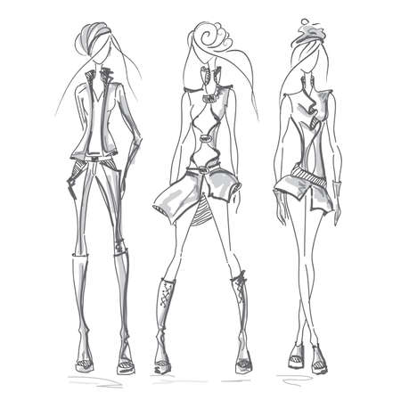 supermodel: Vecto fashion model set. Vector collection of clothing. Dress pencil sketch. Vector fashion outline.