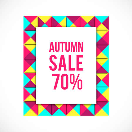 signboard form: colorful frame background. Sale color frame. Geometry frame. Abstract sale background. Autumn shopping. Market background. autumn sale.