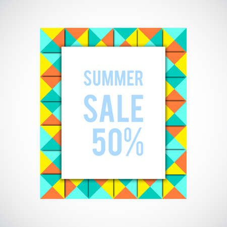signboard form: summer sale background. Sale colorful frame. Geometry frame. Blue abstract frame. Summer shopping. Market background. Illustration