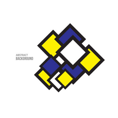 constructive: Vector blue yellow abstract. Vector minimal style background. Modern geometric square. Vector design elements. Business sale label.