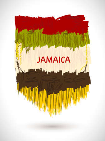 Vector colorful painterly background. Abstract texture. Ethnic Jamaica element. Ethnographic frame Illustration
