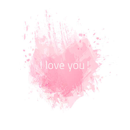 daub: Vector pink watercolor heart background. Valentines day. Colorful abstract texture. Grunge shape heart.
