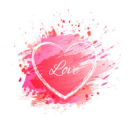 Vector watercolor pink heart background.  Colorful abstract texture. Love card. Vector Valentines day. Wedding card