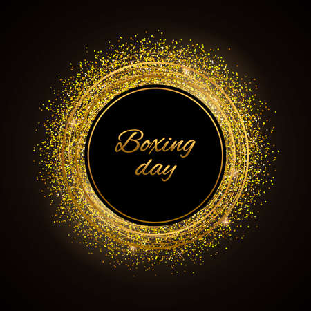 Abstract vector stippling texture background. Sale template. Gold boxing day.