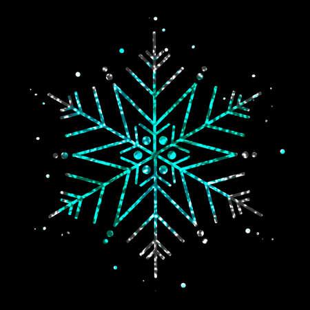 Neon green snowflakes illustration. Illustration
