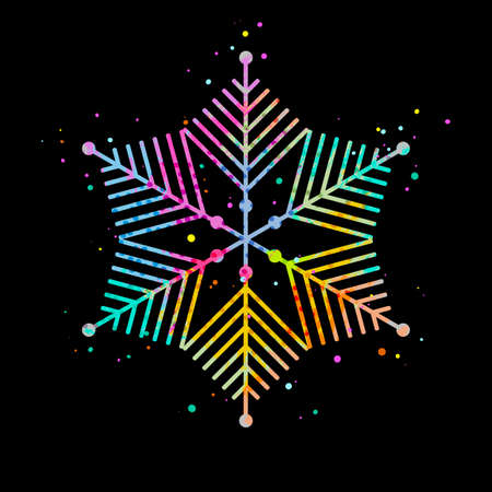 Vector colorful snowflakes background. Snowflake vector on black background. Illustration