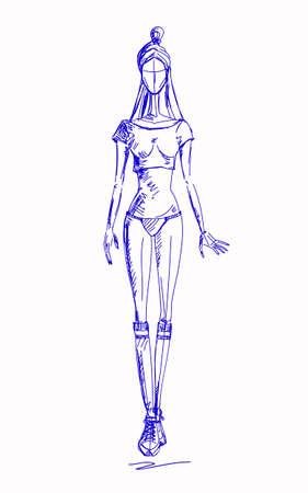Fashion-girl-pen Illustration