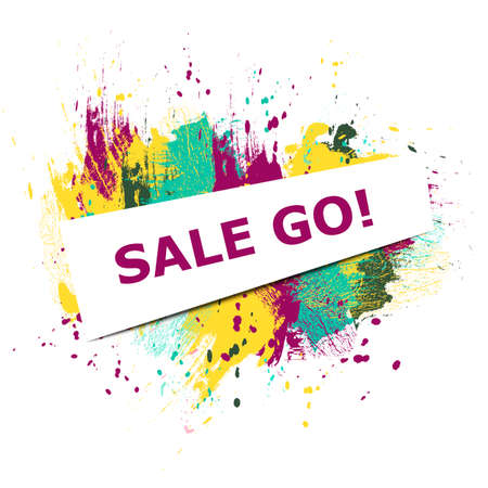 sale go text on different colored background. Vector illustration. Illustration