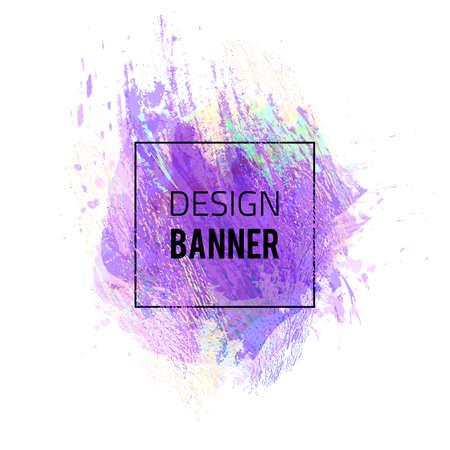 Design banner with violet background. Vector illustration.
