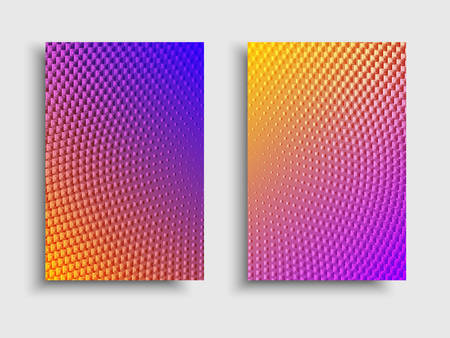 Minimal covers design. Vector colorful halftone gradients. Futuristic geometric patterns. Vector granular texture