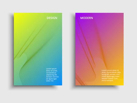 Vector fluid color covers set. Broshure with a gradient shape. Multicolored technology background Illusztráció