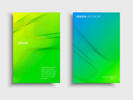 Vector fluid color covers set. Broshure with a gradient shape. Multicolored technology background Ilustração