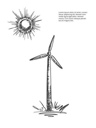 Vector windmill drawing. Windmill isolated. Alternative sources of energy. Green energy. Ilustrace