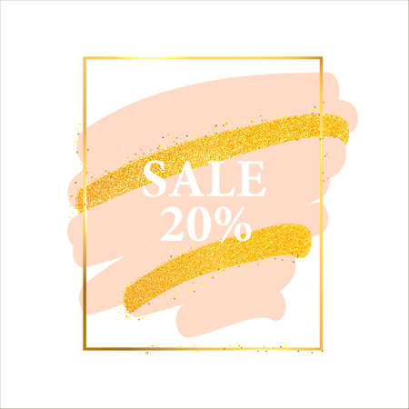 Golden light frame. Vector golden frame with lights effects. Shining rectangle banner. Stock Photo