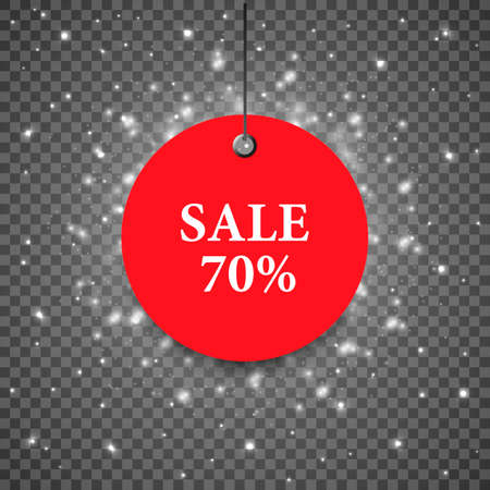 Vector winter label sale. Price tag with sale. Red sale template