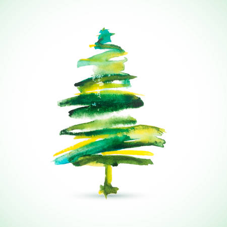 Vector watercolor Christmas tree. Vintage watercolor background. Beautiful colorful painting. Christmas greeting card. 일러스트