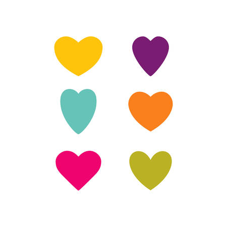 Vector set of the hearts. Colorful heart templates. Variety heart shapes. Valentine's hearts. Kit of the hearts. Vettoriali