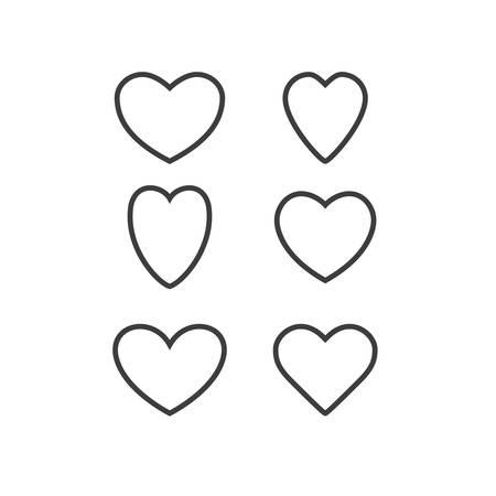 Insieme di vettore dei cuori. Modelli di cornici a cuore. Varie forme di cuore. Cuori di San Valentino. Kit dei cuori. Vettoriali