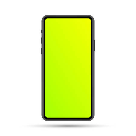 Isolated cell phone mockup. Vector phone illustration. Vector electronic device. Colorful phone template. Imagens - 124948593