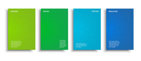 Vector set minimalist halftone covers design. Vector colorful halftone brochures. Modern grainy textured design background. Ilustração