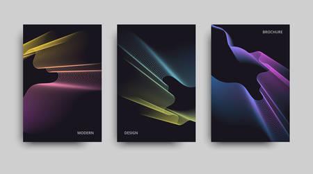 Vector glitter set of banners. Vector modern brochure. Beautiful neon lines effect. Vector neon background. Ilustração
