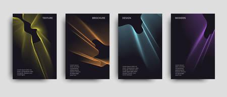 Vector minimalist covers design. Set of the vector modern brochures. Beautiful neon lines effect. Vector neon background.