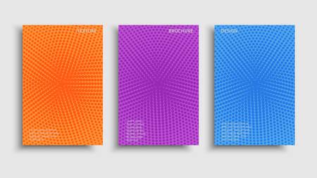 Vector set colorful halftone brochures. Modern grainy textured design background. Vibrant graphic trendy design.
