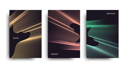 Vector set neon brochure. Vector minimalist covers design. Vector modern brochure. Beautiful neon lines effect. Stock Photo