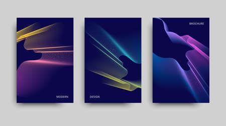 Vector minimalist covers design. Set of the modern brochures. Beautiful neon lines effect. Vector neon background.