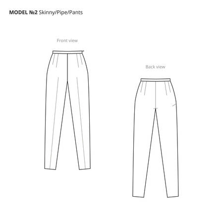 Fashion technical drawing of the womens pants. Vector technical drawing for fashion. Vector fashion flat sketch of the pipe pants. The spec manual for fashion.