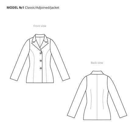Fashion technical drawing of the women's jacket. Vector technical drawing for fashion. Vector fashion flat sketch of the jacket. The spec manual for fashion.