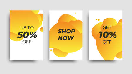 Vector sales templates. Set ot the sale banners. Price tag. Set of abstract modern graphic elements. Gradient liquid shapes. Yellow brochure.