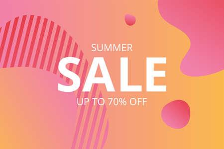 Vector summer sale. Sale banner template design. Vector sale illustration. Modern gradient background. Season sale.
