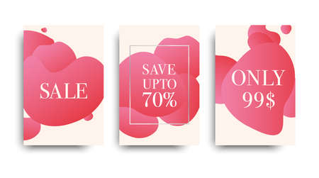 Vector sales templates. Set ot the banners sale. Sale tag. Gentle pink abstract brochure. Fashion flyers. Archivio Fotografico