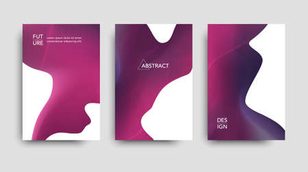 Vector tech brochure. Vector technology backgrounds. Set pink banners. Vector abstract templates.