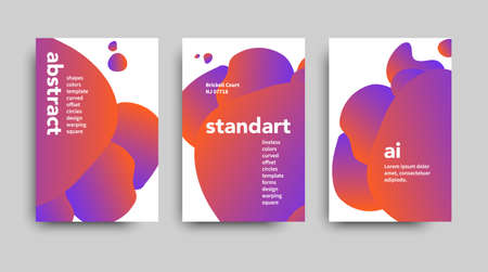 Set of modern abstract vector brochure ready for use to your event. Gradient liquid shapes of crimson and orange colors in futuristic design style. Vector web banner