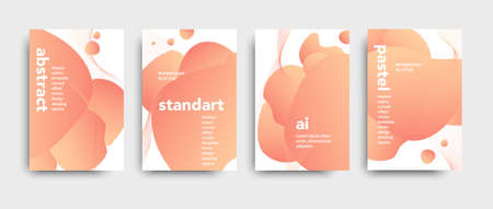 Set of colored brochure with big inscription. Modern design brochure. Beautiful peach color palette. Liquid abstract design.