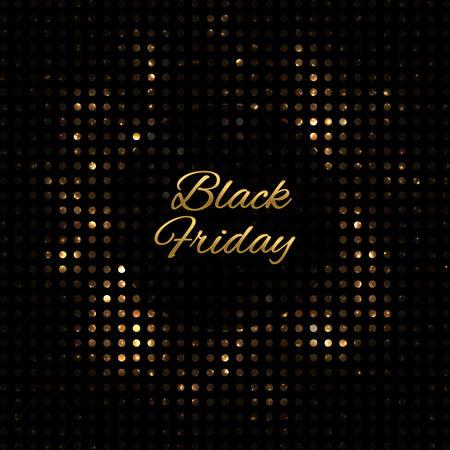 Black Friday shining backdrop. Golden beautiful background.