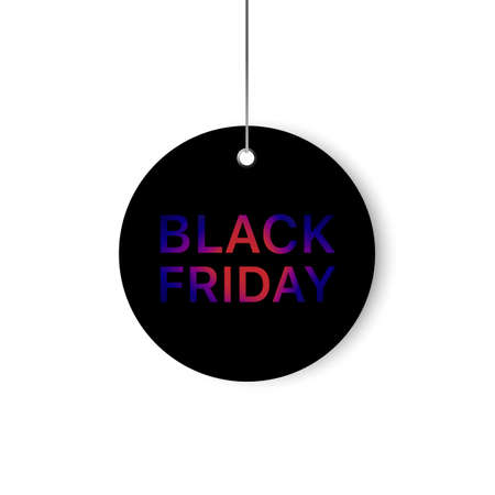 Vector black Friday template. Black label with a big inscription black Friday. Vector sale background. Çizim