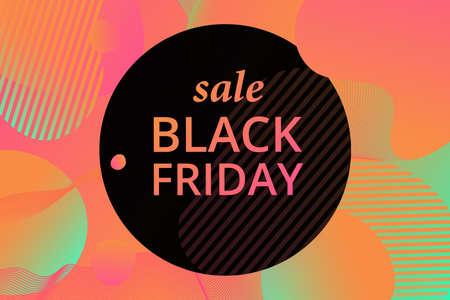 Vector black Friday template. Black label with a big inscription black Friday. Vector sale background. Çizim