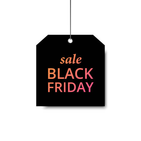 Vector black Friday template. Black label with a big inscription black Friday. Vector sale background.  イラスト・ベクター素材