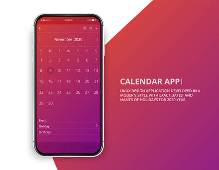User interface design. Mobile calendar app. Phone app calendar 2020 year. Names and dates of holidays for 2020 year.