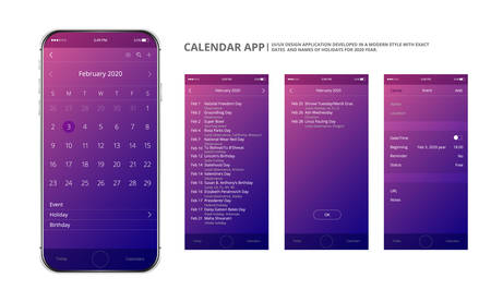 User interface design. Mobile calendar app. Phone app calendar 2020 year. Names and dates of holidays for 2020 year. Holiday mobile application.