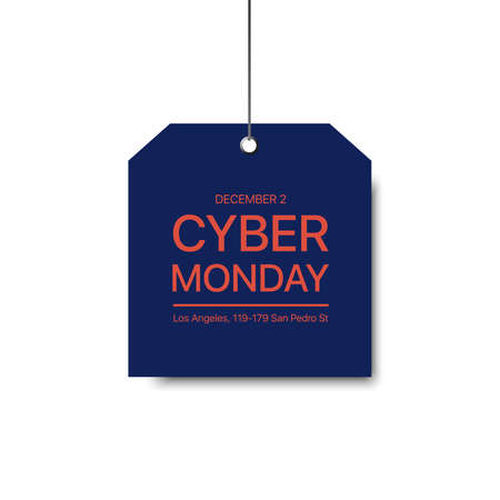 Cyber Monday sale. Vector holiday sale. Fashion vector label. Square blue label